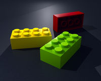 3D three lego blocks Stock Photos