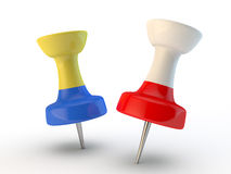 3d thumbtack with a flag of Ukraine and Poland. Participating in the European championship 2012 Stock Image