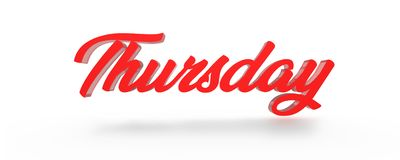 3D Thursday Red White Background. Royalty Free Stock Photography