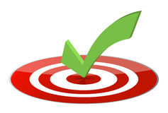 3D tick on a glossy target. Royalty Free Stock Photo