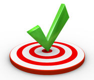 3d tick on target. 3d render of right tick on target Stock Photo