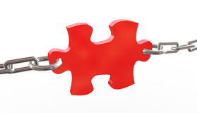 3d tied puzzle piece Royalty Free Stock Photo