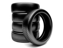 3d tires. On white background Royalty Free Stock Photography