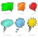 3D toespraak en gedachte bellen Stock Afbeeldingen