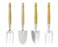 3D Tools Chrome Rack & Trowel Royalty Free Stock Photo