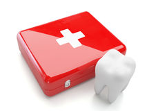 3d tooth and frist aid kit. 3d tooth with first aid kit isolated on white background Stock Photo