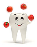 3d tooth juggling with red apples stock photo