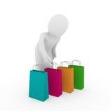 3d torby mężczyzna sprzedaży zakupy Zdjęcia Stock