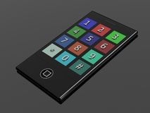 3D touchscreen mobile phone. On grey background Royalty Free Stock Photography