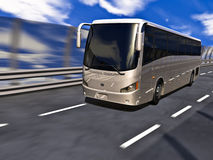 3D Tour bus. Silver tour bus on highway in motion. No trademarks Royalty Free Stock Photos