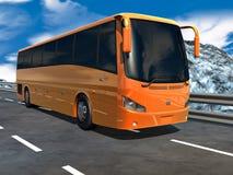 3D Tour bus. Orange tour bus on highway. No trademarks Royalty Free Stock Photos