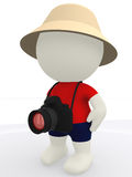 3D tourist with camera Royalty Free Stock Images