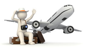 3d tourist man waving on suitcase Stock Photos
