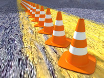 3D Traffic Cones In a Row Stock Image