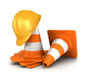 3d traffic cones and a safety helmet. 3d orange traffic cones and a yellow safety helmet,  white background, 3d image Stock Image