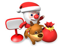 3d traffic control of santa and rudolph Stock Photo