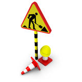 3d traffic sign with cones Royalty Free Stock Images