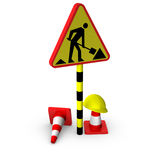 3d traffic sign with cones. Isolated on white background Royalty Free Stock Photos