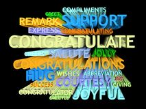 3d trail congratulation�s word-cloud Stock Photos