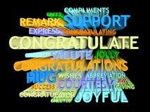 3d trail congratulation's word-cloud Stock Photos