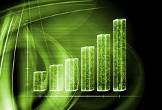 3d transparent graph bar Stock Photos