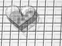 3D transparent love hearts. 3D image of transparent love heart and its shadows isolated over brick background Stock Photo