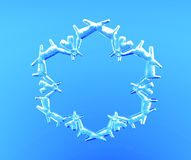 3D transparent snowflake. On blue background Royalty Free Stock Image
