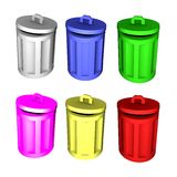 3d trashcans - colored Royalty Free Stock Images