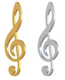 3d Treble Clef Royalty Free Stock Photography