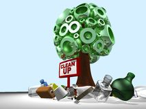 3D tree and clean up Royalty Free Stock Photos