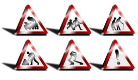 3d triangle road signs Royalty Free Stock Images