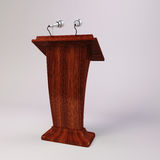 3d tribune speech and microphones Royalty Free Stock Image
