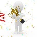 3D trofee van de sportspersonholding Royalty-vrije Stock Fotografie