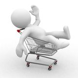 3d trolley. 3d human in a shopping trolley Stock Image