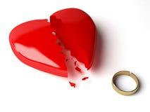 3d trouwringen en hart Stock Afbeeldingen