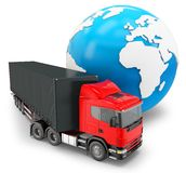 3d truck transportation with globe Royalty Free Stock Image