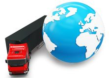 3d truck transportation with globe Royalty Free Stock Photo