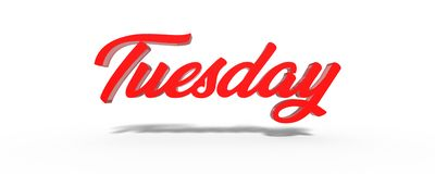 3D Tuesday Red White Background. Stock Photography