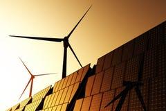 3D turbines van de wind en de zonnepanelen geven terug Stock Fotografie