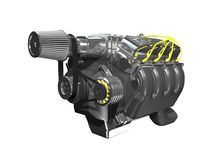 3d turbo engine on white. Background Royalty Free Stock Images