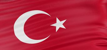 3D Turkish flag Stock Photography