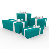 3d turquoise green white gift box. Isolated on white background Royalty Free Stock Image