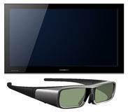 3D tv. Led with glasses - detailed vector illustration Royalty Free Stock Photo