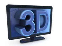 3D TV. Blue 3D LCD TV illustration Royalty Free Stock Photo
