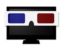 3D TV. A flat screen television wearing 3D glasses Stock Image