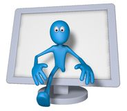 3d tv. Blue guy and flatscreen monitor - 3d illustration Royalty Free Stock Photo