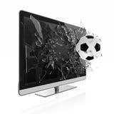 3D TV. 3D illustration of soccer ball breaking TV screen. Stereoscopic TV Stock Photos