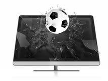3D TV. 3D illustration of soccer ball breaking TV screen. Stereoscopic TV Royalty Free Stock Photos