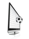 3D TV. 3D illustration of soccer ball and stereoscopic TV  on white Stock Images