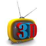 3d TV. Small orange TV with 3d symbol. White background Royalty Free Stock Images